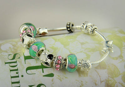 Silver Charm Bracelet Bangle for Women with Murano Beads