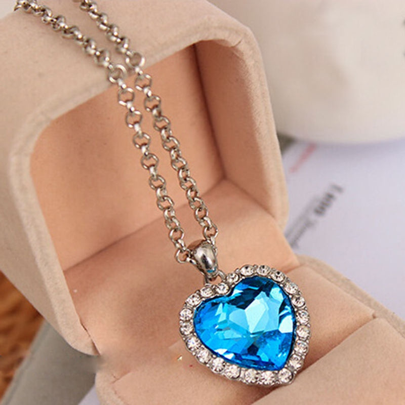 Crystal Pendant Heart Necklace Classic Titanic Ocean Crystal Heart