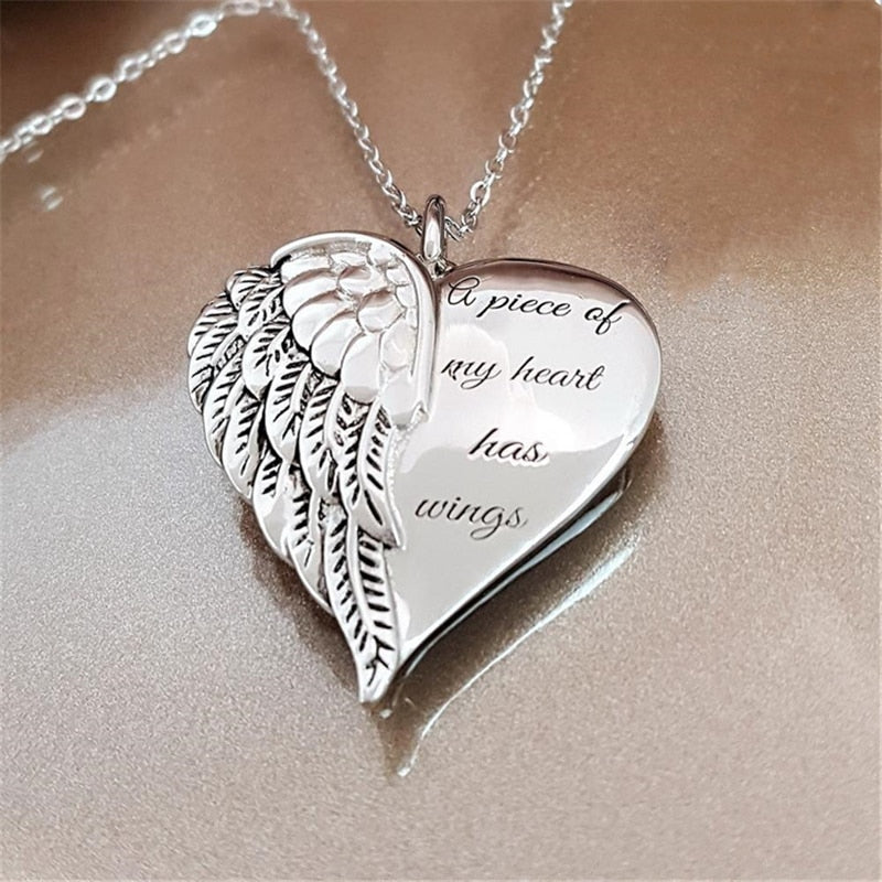 Angel Wings Alloy Pendant Necklace Lettering Metal