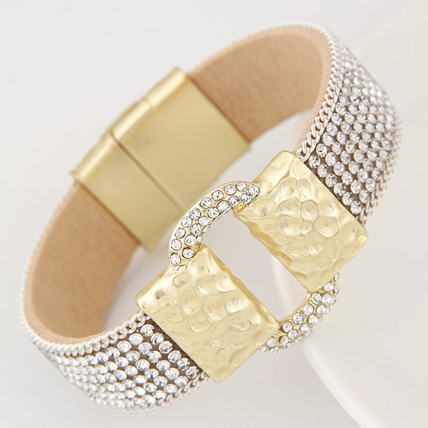Sparkling Full Rhinestone Belt Buckle Wide Magnetic Leather Bracelets