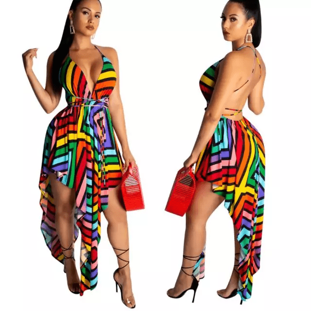 Halter Top Criss-Cross Maxi Dress| Kiss the Rainbow| RQF Boutique - RQFBOUTIQUE.com