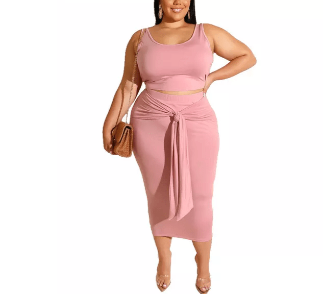 2 piece wrap skirt, color Pink plus size XL-5X