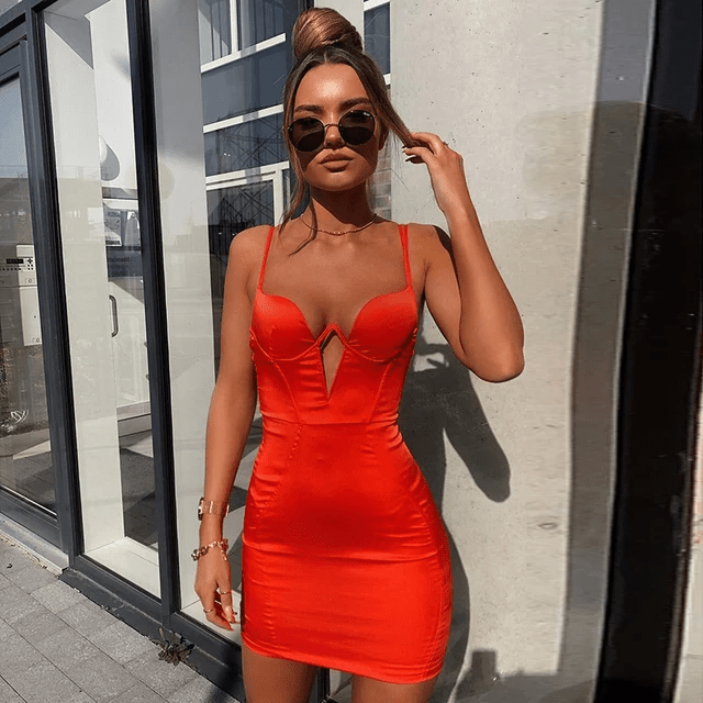 Orange Bandage Dress  |  All Your Wishes| RQF Boutique - RQFBOUTIQUE.com