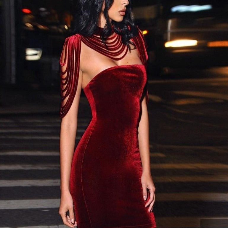 Red Wine Bandage Dress | Star Crossed Lover | RQF Boutique - RQFBOUTIQUE.com