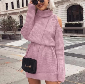 |Intentions| Women Off Shoulder Knitted Turtleneck Mini Fitted Dress Ribbed Bodycon Long Sleeved Sweater Dress- Pink - Black - Grey