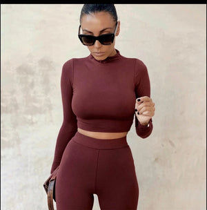 |Touch It | 2 Piece Long Sleeve High Waist Sexy Solid Jumpsuits Casual  Women's Wear - White - Black - Light Brown - Burgundy
