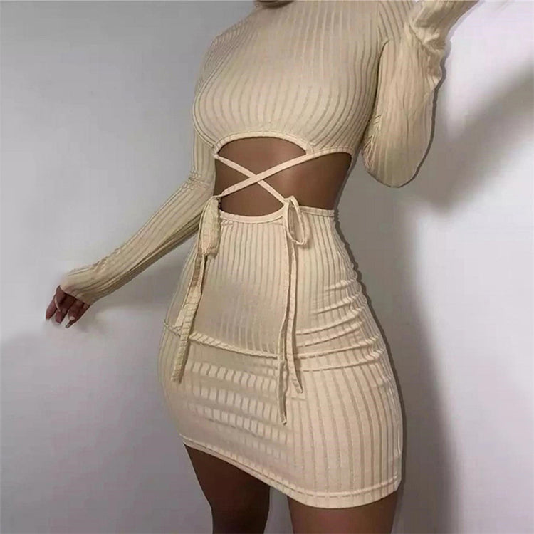 |Ting Ting| 2 Piece Women Long Sleeve Cut Out Bodycon Crop Top and Skirt Ribbed Knitted Sweater Mini Dress Sexy Party and Club Wear - Cream and Black