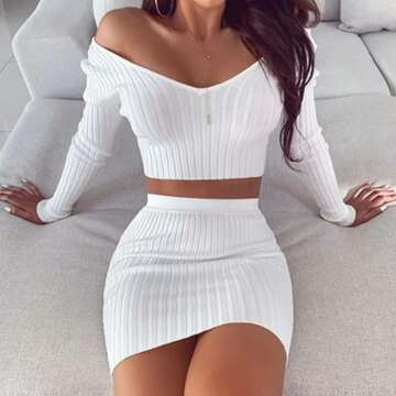 |Good Vibe|Long Ribbed Sleeve V Neck High Waist 2 Piece Crop Top Knitted Dresses