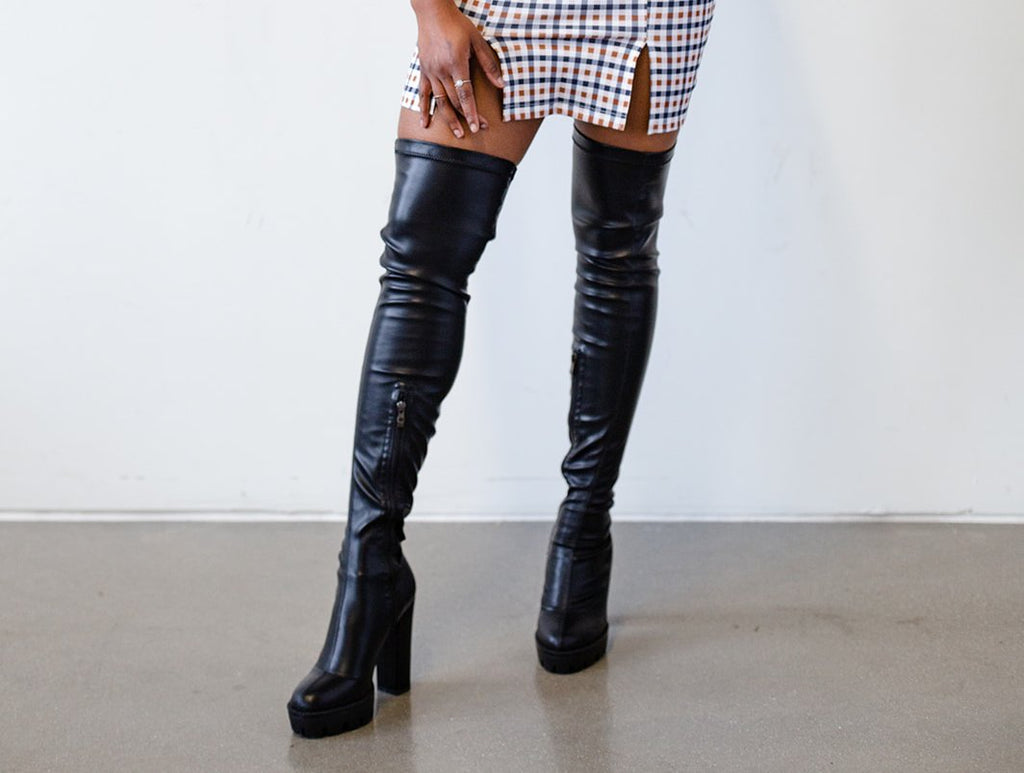 Limited Edition RQF Boutique |Staci|  Women Long Thigh High Boots Soft PU Leather   Block Heels Sexy Platform Shoes for Women Over Calf Shoes with Side Zipper Chunky Boots - Black