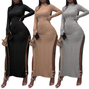 Rqf Boutique | Late Night Special|  Women Long Double Slit Open Dress with Long Thumb hole Sleeves High Collar Neck Ribbed Bodycon Split Long Maxi Dress