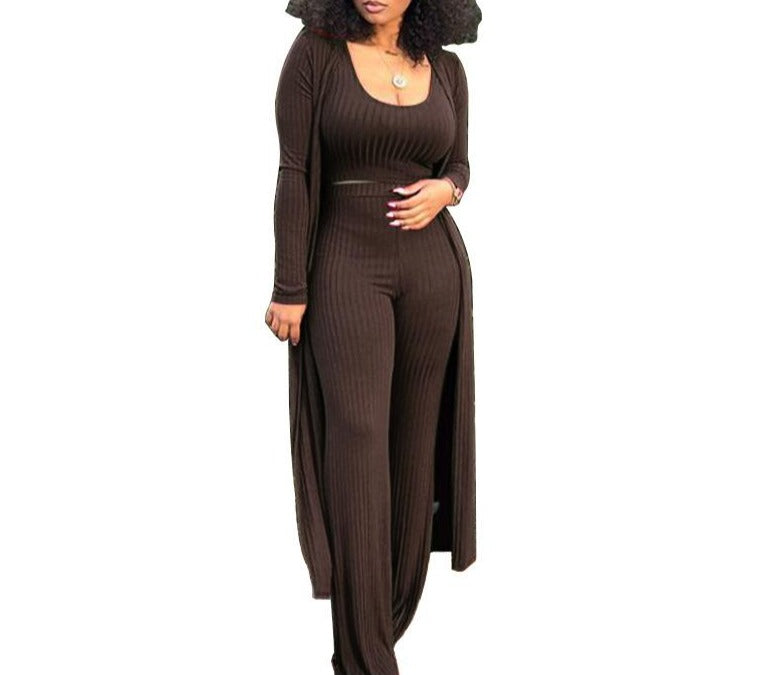 Rqf Boutique| Show Me|  Womens Jumpsuit Set 3 Piece Set Ribbed Tank Top Wide Leg Pants Long Coat Sexy Long Cardigan and Pants