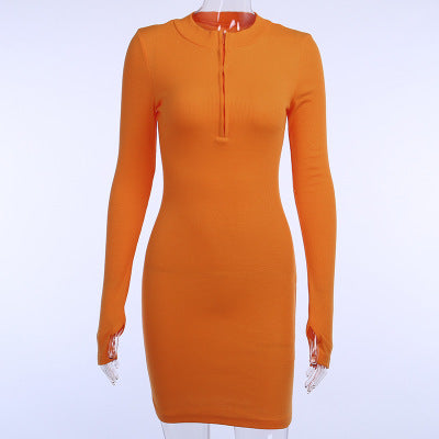 |Different Positions | Women Zip Up High Neck Dress | Bodycon 2 piece with Long Sleeves| Ribbed and Knitted Sexy Mini Dress – Dark Green Black and Orange