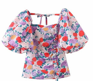 Flower Power Puff Sleeve Top