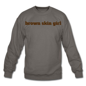 Brown Skin Girl Crewneck Sweatshirt - asphalt gray