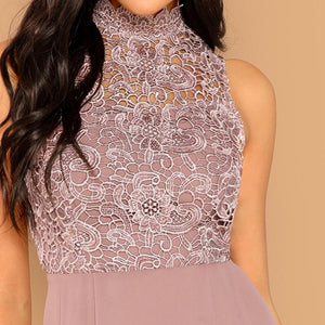 Solid Overlay Bodice Vintage Dress