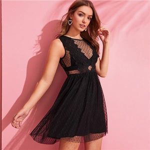 Sexy Black Sheer Mesh Lace Mini Dress