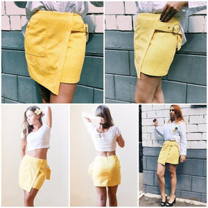 Suede High Waist Asymmetrical Pencil Skirt