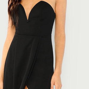 Sexy Black Strapless Bodycon Knee High Split Dress