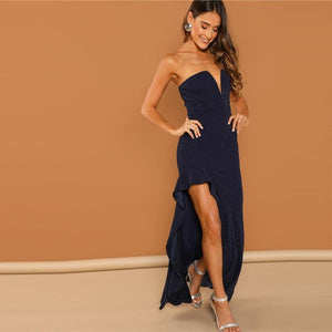 Sexy Strapless V-Cut Navy Cocktail Dress