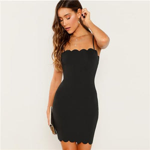 Sexy Little Black Spagetti Strap Bodycon Party Dress