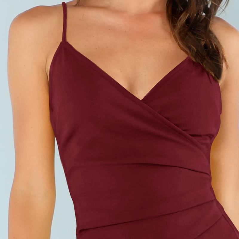 Burgundy Ruched Dress