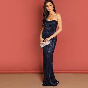 Sequined Strapless Bodycon Gown