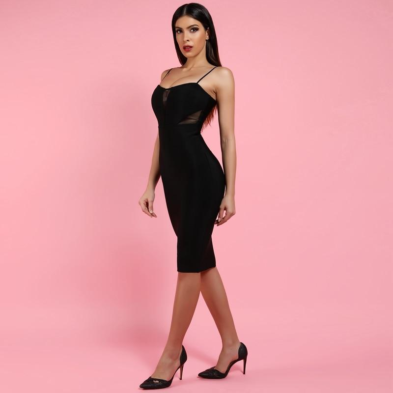 Sexy Mid-Calf Mesh Patchwork Midi Bandage Club Dress