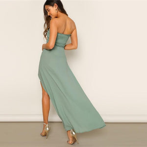 Split Strapless Elegant Dress