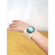 Load image into Gallery viewer, Calinao Turquoise and Crystal Brass Cuff