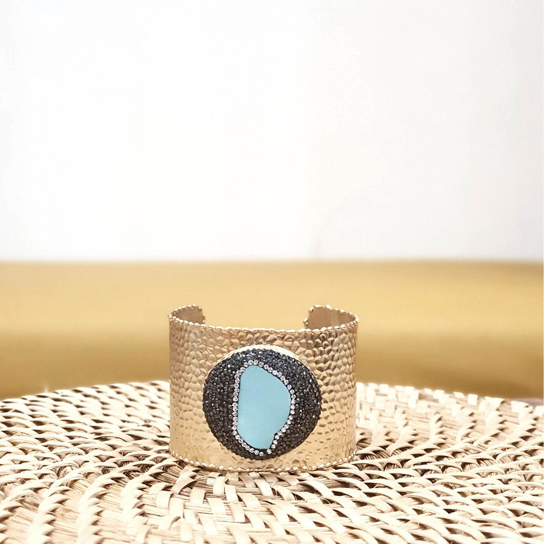 Calinao Turquoise and Crystal Brass Cuff