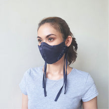 Load image into Gallery viewer, Fabric Tie Mask in Midnight Blue
