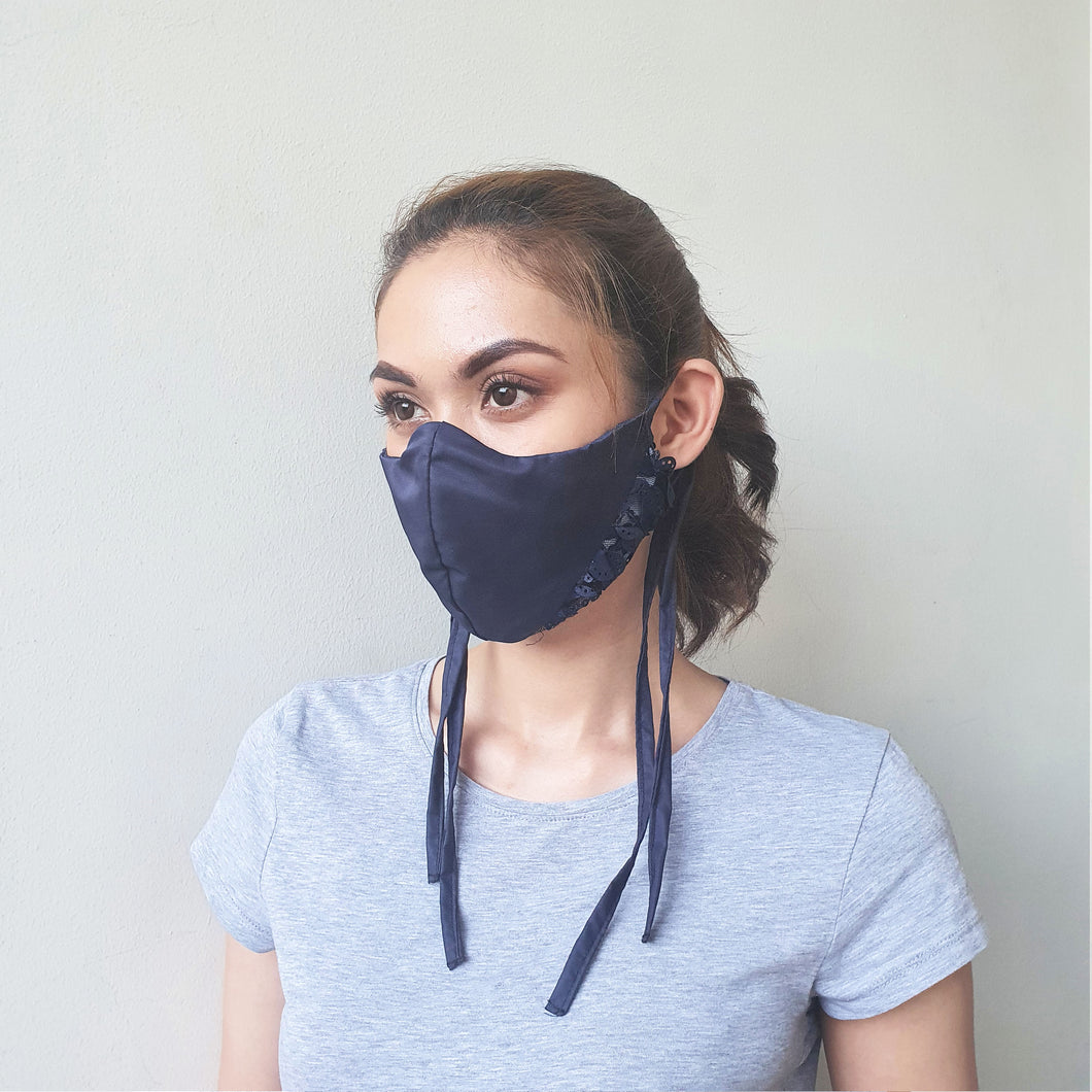 Fabric Tie Mask in Midnight Blue