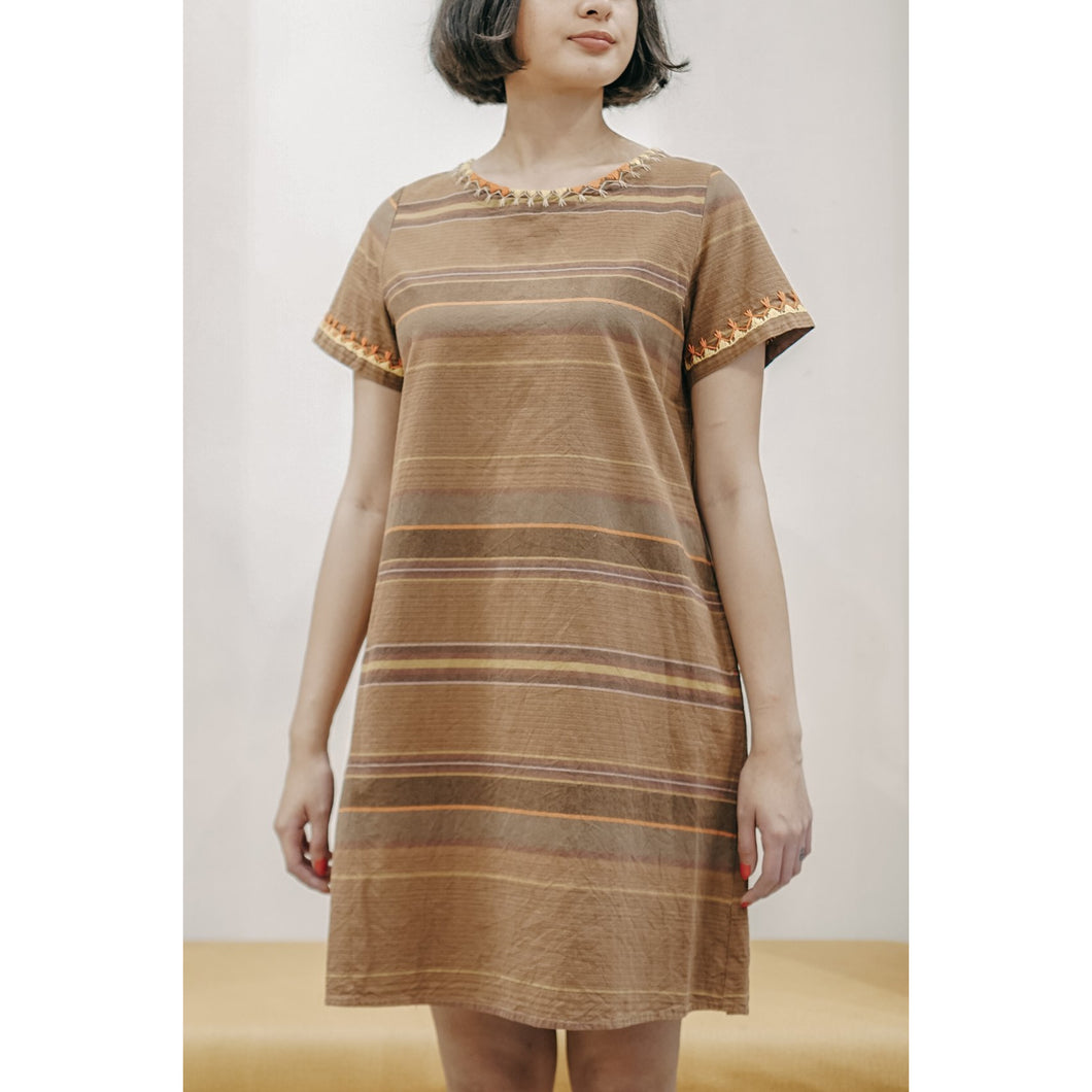 Kelly Embroidered Brown Dress
