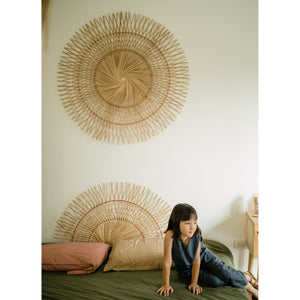 Rattan wall accent