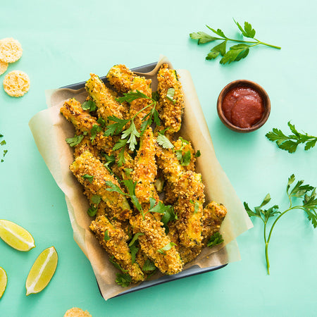 Baked Zucchini Fries w/ Chipotle Ketchup