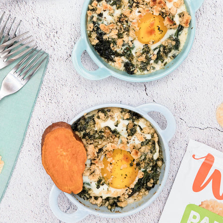 Cheesy Baked Eggs with Spinach