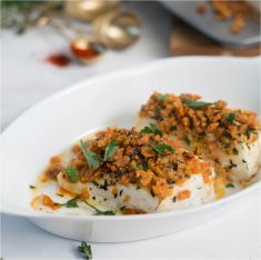 Asiago-Crusted Halibut