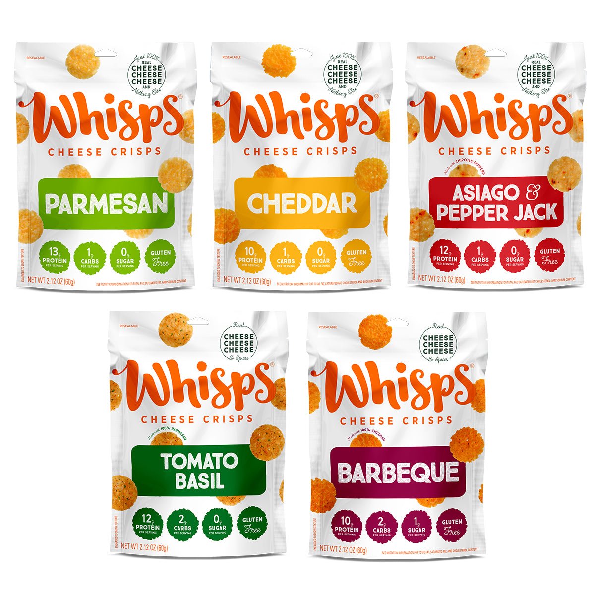 Buy Whisps Parmesan, Cheddar, Asiago Pepper Jack, BBQ, Tomato Basil Variety Pack on Amazon
