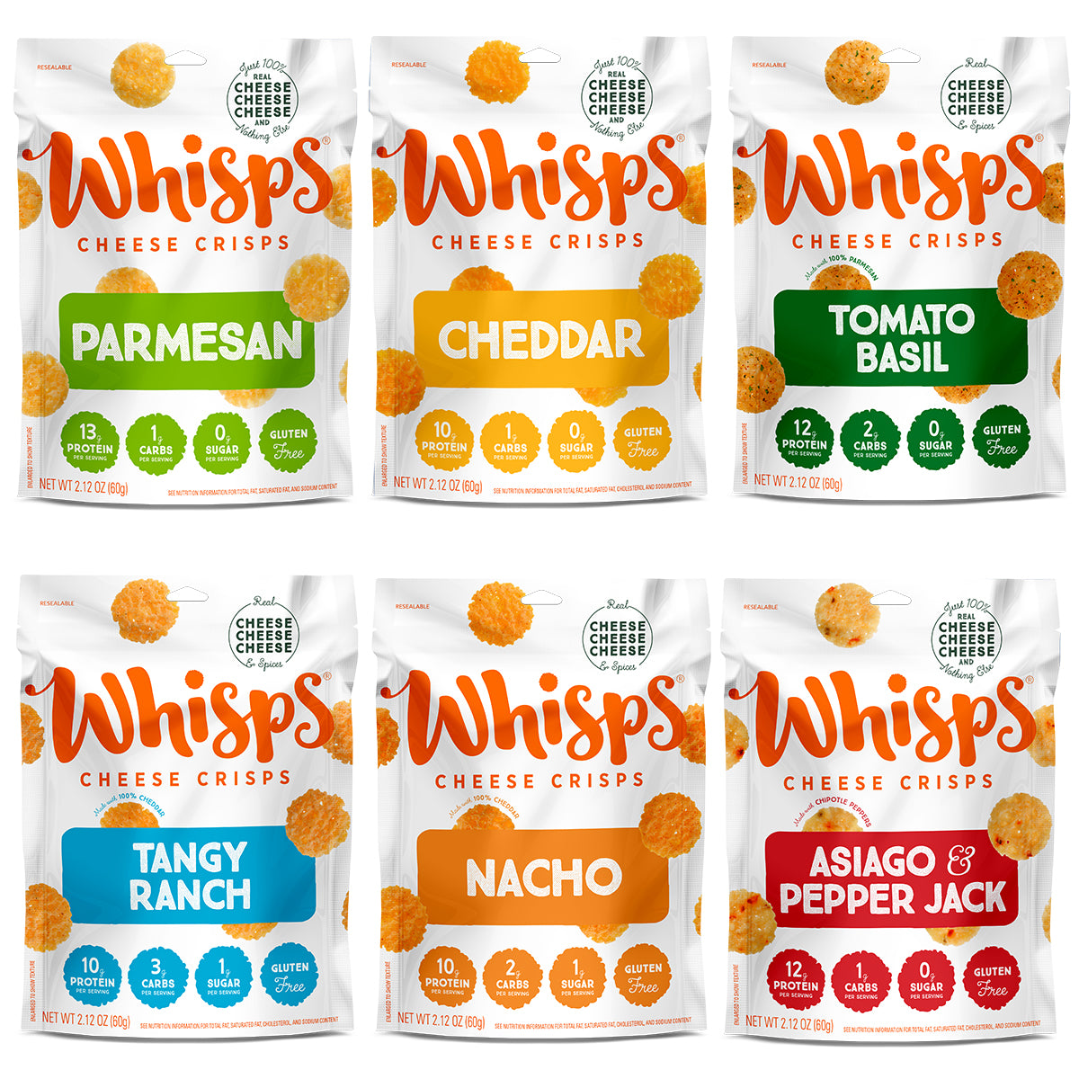 Buy Whisps Parmesan, Cheddar, Tangy Ranch, Nacho Asiago Pepper Jack, Tomato Basil Variety Pack on Amazon