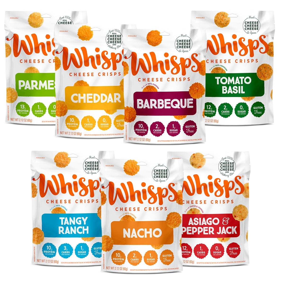 Buy Whisps Parmesan, Cheddar, Tangy Ranch, Nacho Asiago Pepper Jack, Tomato Basil, BBQ Variety on Amazon
