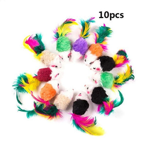 10pcs Cat toys False Mouse Pet Cat Toys Mini Funny Playing Toys For Cats with Colorful Feather Plush Mini Mouse Toys