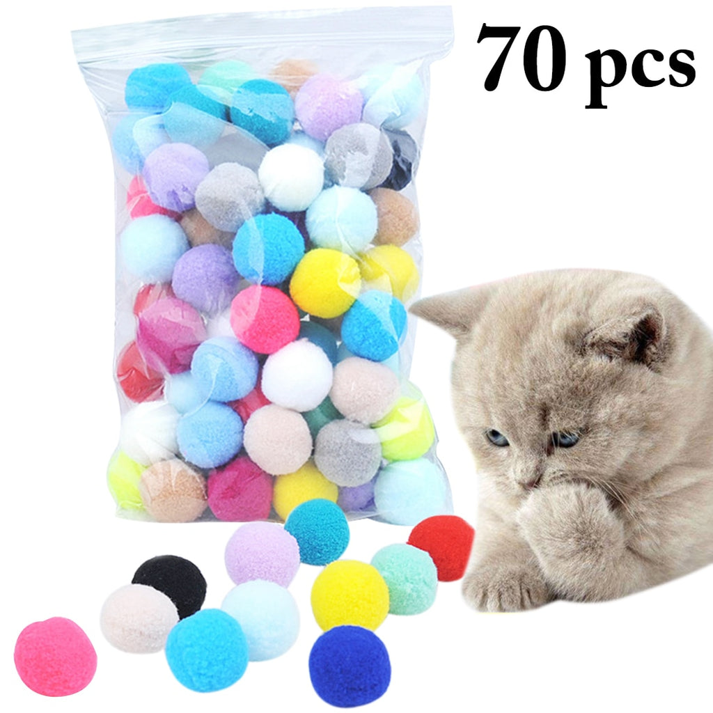 Cute Funny Cat Toys Stretch Plush Ball 0.98in Cat Toy Ball Creative Colorful Interactive Cat Pom Pom Cat Chew Toy Dropshipping
