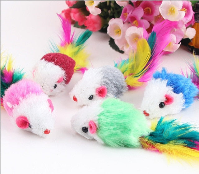 12PCS Cat Toy Mouse Real Fur Mixed Loaded Black White Mouse Toys Cat Teaser Kitty Kitten Funny Sound Squeaky Toys for Cats