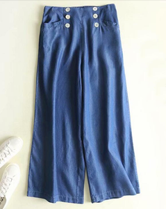 Sustainable Tencel Button Front Wide Leg Trousers