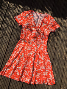 Fairly Made Red & White Floral Button Dress