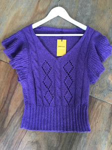 Fairly Made Purple Open Knit Frill Sweater