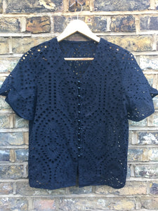 Fairly Made 100% Cotton Broderie Anglaise Black Blouse