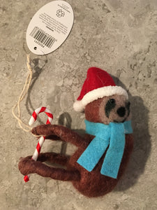 Felted Wool Hanging Sloth Decoration