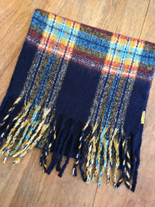 Fairly Made Navy Yellow Check Scarf