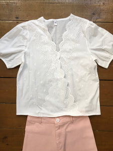 Fairly Made 100% Cotton Broderie Anglaise White Black Blouse